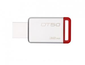金士顿(Kingston)32GB USB3.1 U盘 DT50 红色 金属外壳 无盖设计